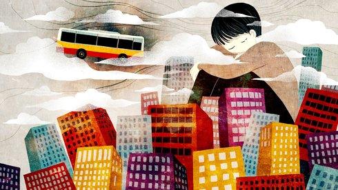 Cha, con và xe buýt và thành phố...