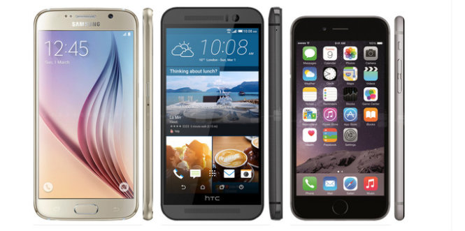 Samsung Galaxy S6 - HTC One M9 - Apple iPhone 6 - Ảnh: PhoneArane