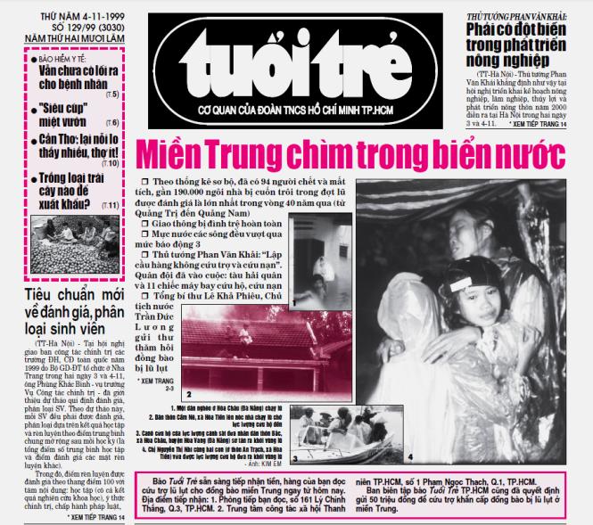 Trang nhất Tuổi Trẻ với những hình ảnh đầu tiên về trận lũ lịch sử năm 1999 ở miền Trung, do phóng viên Kim Em thực hiện