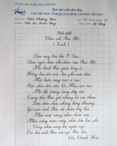 Học sinh tiểu học viết chữ đẹp như in mẫu - Tuổi Trẻ Online
