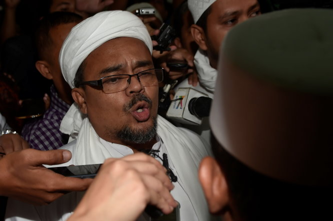 Leader of hardline Muslim group Islamic Defenders Front (FPI) Rizieq Shihab