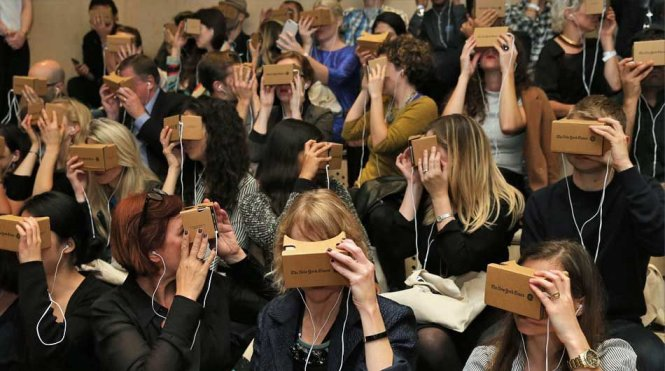 Users try Google Cardboard at a New York Times event on November 5, 2015 in New York City.