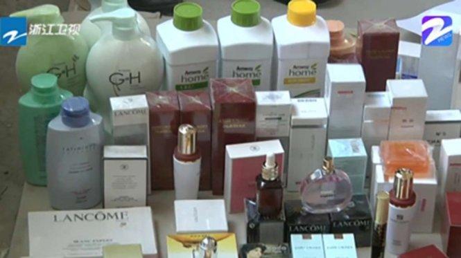 Mỹ phẩm giả tịch thu tại thành phố Thái Châu, tỉnh Chiết Giang bao gồm các nhãn hàng cao cấp như Chanel, Dior, Lancome - Ảnh: SCMP