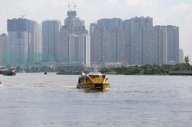 Tuyến xe buýt đường sông trong lần chạy thử nghiệm trên sông Sài Gòn sáng 22-8 - Ảnh: QUANG ĐỊNH