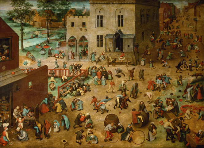 Những trò chơi của trẻ con, Pieter Bruegel bố, sơn dầu trên gỗ, 118 x 161cm, Bảo tàng Lịch sử văn hóa Vienna, Áo.-Ảnh: wikipedia.org