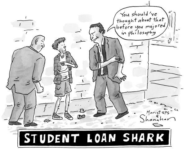 """Biếm họa của The New Yorker. Băng đảng cho sinh viên vay nặng lãi. """"Cậu lẽ ra nên nghĩ tới chuyện này trước khi cậu đăng ký học ngành triết học"""".-Ảnh: newyorker.com"""