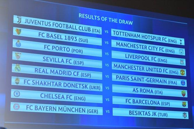 Kết quả bốc thăm vòng 16 đội Champions League. Ảnh: UEFA