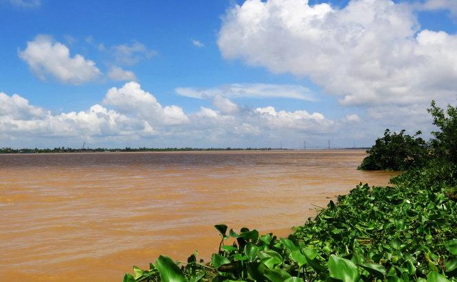 1b. Tiền giang nhìn từ Mỹ Xương rạng rỡ mùa nước son, xa xa là cầu Cao Lãnh đang chờ hợp long.