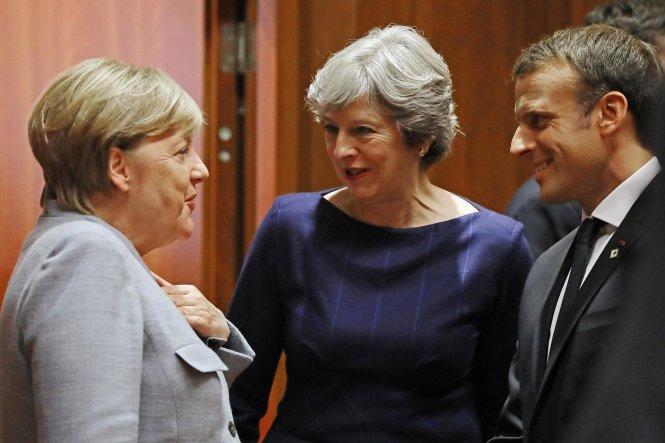 Từ trái sang: Thủ tướng Đức Angela Merkel, Thủ tướng Anh Theresa May và Tổng thống Pháp Emmanuel Macron.-Ảnh: standard.co.uk
