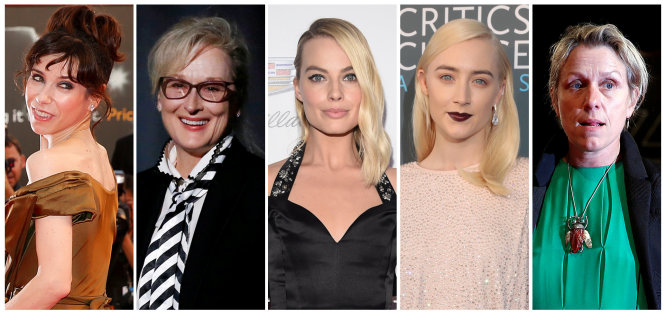FILE PHOTO: Nominees for the 90th Oscars, Best Actress Awards (L-R) Sally Hawkins, Meryl Streep, Margot Robbie, Saoirse Ronan and Frances McDormand.  REUTERS/Staff/File Photos