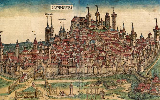 Tranh mộc bản toàn cảnh thành phố Nuremberg năm 1493. Loài người đã sống với các nhà nước - thành bang trong hàng nhiều thế kỷ trước khi biết tới khái niệm quốc gia hiện đại.-Ảnh: strategygroup.net