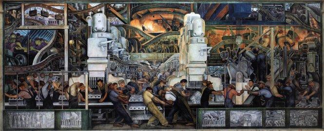 Tranh tường Detroit Industry của -Diego Rivera ở Viện Nghệ thuật Detroit. Ảnh: vassar.edu