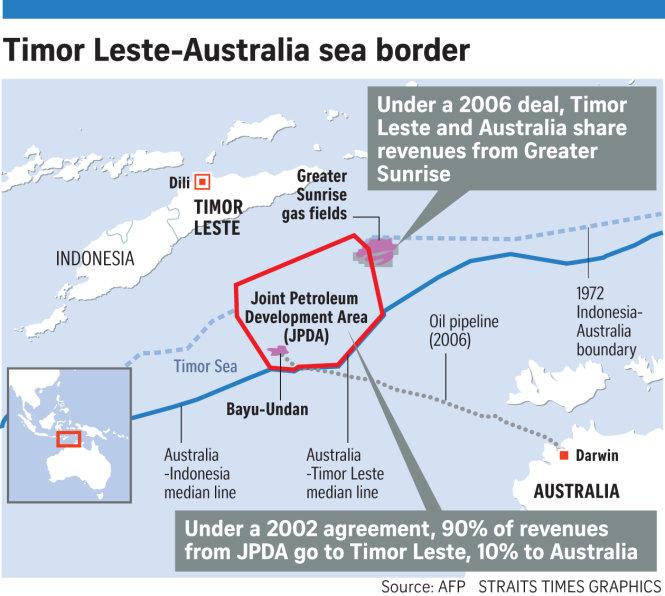 Bản đồ đường biên giới khu vực biển chồng lấn Úc - Đông Timor - Indonesia. Ảnh: AFP