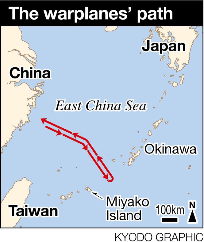 Đường đi của phi đội Trung Quốc ở biển Hoa Đông. Quần đảo Ryukyu ở phía nam Nhật Bản. Eo biển Miyako nằm giữa đảo Okinawa và Miyako. Phía dưới nữa là eo biển Bashi (Ba Sĩ) về phía Đài Loan. Ảnh: Kyodo News
