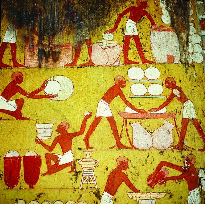 Hình vẽ trong mộ ngài Qenamun - một quan chức cấp cao của triều đình Ai Cập - diễn tả cách nặn bánh mì và sự