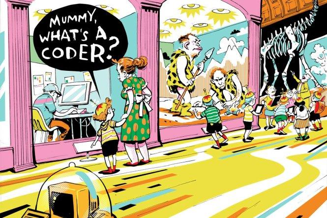 Mẹ, một người viết mã lập trình là gì...? Ảnh: wired.com