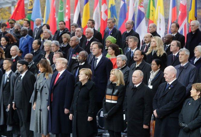 Lãnh đạo các nước dự lễ tưởng niệm 100 năm kết thúc Thế chiến I ở Paris. Ảnh: time.com