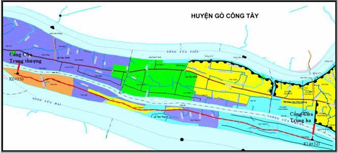 Vị trí đắp đập hồ Cửa Trung. Nguồn: Chi cục Thủy lợi và phòng chống lụt bão tỉnh Tiền Giang
