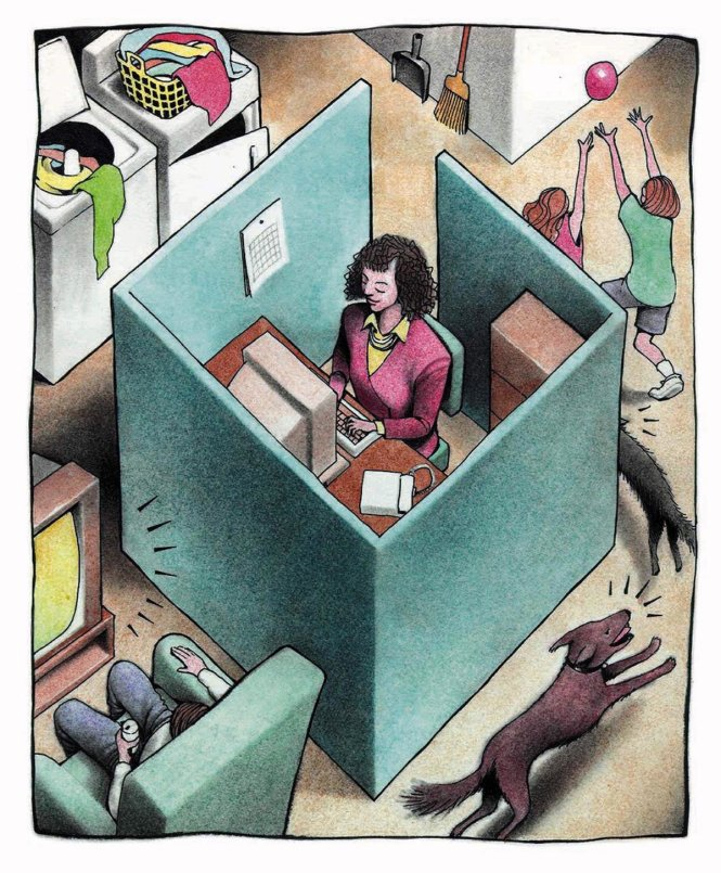 160 dpi 39p x 47p Doug Griswold color illustration of woman working in an office cubicle in her home while her kids play around her. San Jose Mercury News 1997  With TELECOMMUTE, Knight-Ridder  FOR AT-RISK READERS- -CATEGORY: ILLUSTRATION-SUBJECT: TELECOMMUTE illus-ARTIST: Doug Griswold-ORIGIN: San Jose Mercury News-TYPE: EPS JPEG-SIZE: As needed-ENTERED: 6/10/97-STORY SLUG: TELECOMMUTE, Knight-Ridder-FOR AT-RISK READERS- -illustration, feature, features, business, telecommuting, telecommuter, telecommute, risk, women, office, work, youth, kid, kids, technology, computer, employe, employee, home, SJ, griswold, 1997