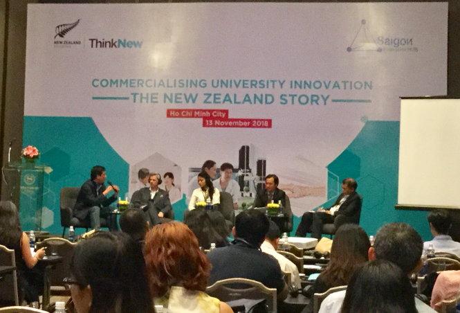 Hội thảo về thương mại hóa công trình trong trường đại học do Bộ Giáo dục New Zealand và Sihub tổ chức. Ảnh: T.Nguyên