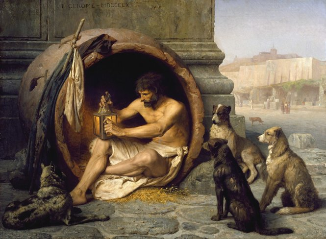 Diogenes sống trong chậu, tranh của Jean-Léon Gérôme, 1860. Ảnh: Wikipedia