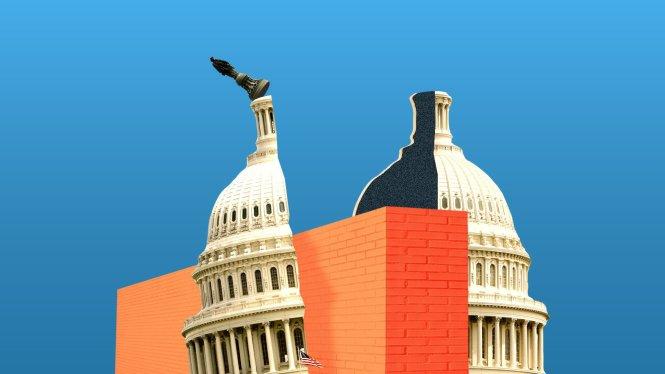 Sự chia rẽ ở Washington vì bức tường của ông Trump đã khiến Chính phủ Mỹ phải đóng cửa một phần. Ảnh: Axios