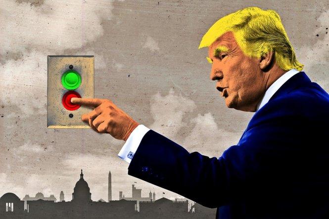 Ông Trump đã tạm thời ấn nút tắt với nhiều hoạt động của chính quyền. Ảnh: The Ringer