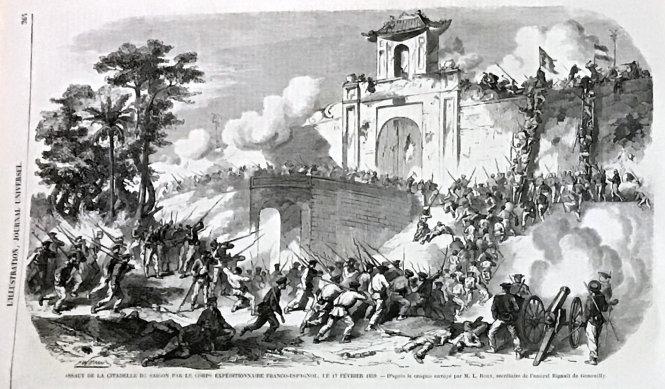 Tập báo Pháp với bức tranh Thành Gia Định thất thủ. Ảnh: Phúc Tiến