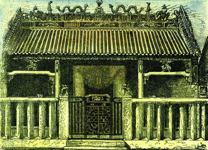 Cổng chùa Bà Thiên Hậu, ký họa trên tạp chí của Pháp 1864. Ảnh: topsimages.com