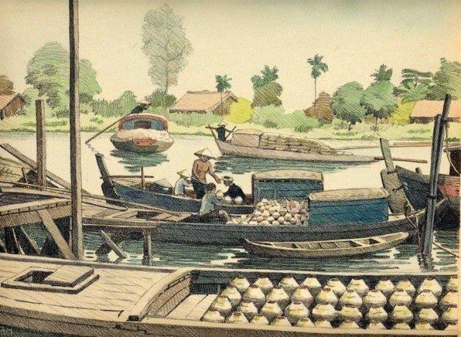 Vận chuyển nước mắm ở Nam Kỳ, hình vẽ trong sách Monographie dessinée de l'Indochine (1935). Ảnh: Flickr
