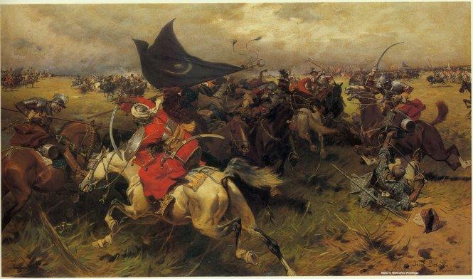 Kỵ binh Ottoman (áo đỏ), tức sipahis, và kỵ binh Ba Lan, tức hussar, trong trận Vienna 1683, tranh của họa sĩ người Ba Lan Józef Brandt.-Ảnh: Pinterest