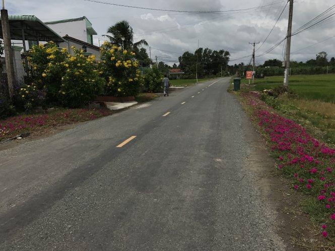 """Mỗi công đất ruộng (có khoảng 300m2 thổ cư) mặt tiền đường như thế này ở xã Long Hiệp, huyện Bến Lức (Long An) được """"hét"""" giá 4-5 tỉ đồng. Ảnh: C.T.V"""