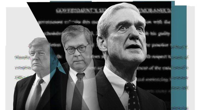 Từ trái sang: Tổng thống Trump, Bộ trưởng Barr, và công tố viên đặc biệt Mueller. Ảnh: Vox