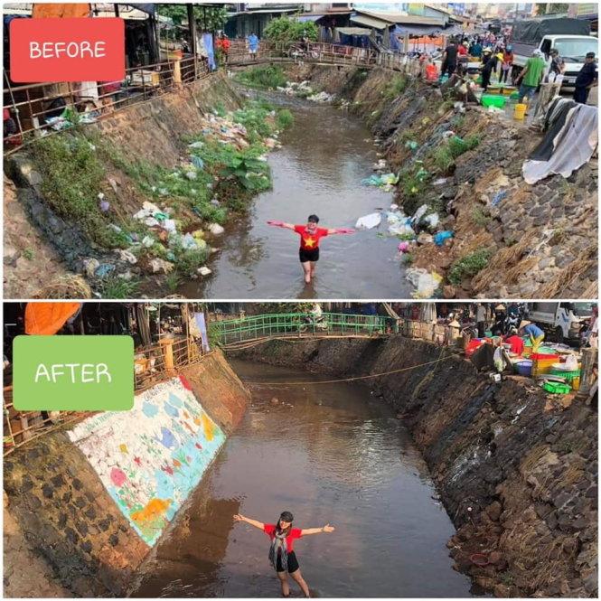 Trashpacker Kim Yến tạo dáng trên con kênh ở chợ Lộc Ninh (Bình Phước) trước và sau khi dọn rác. Ảnh: Trashpackers VN