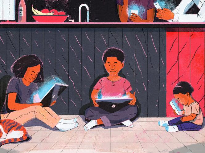 Trẻ em ngày nay rất dễ dán mắt vào màn hình thiết bị di động mọi lúc mọi nơi. Nguồn: NPR