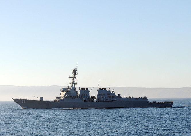 Khu trục hạm USS Preble, chiếc tàu chiến Mỹ thực hiện chuyến FONOP mới nhất ở Biển Đông. Ảnh: Wikipedia