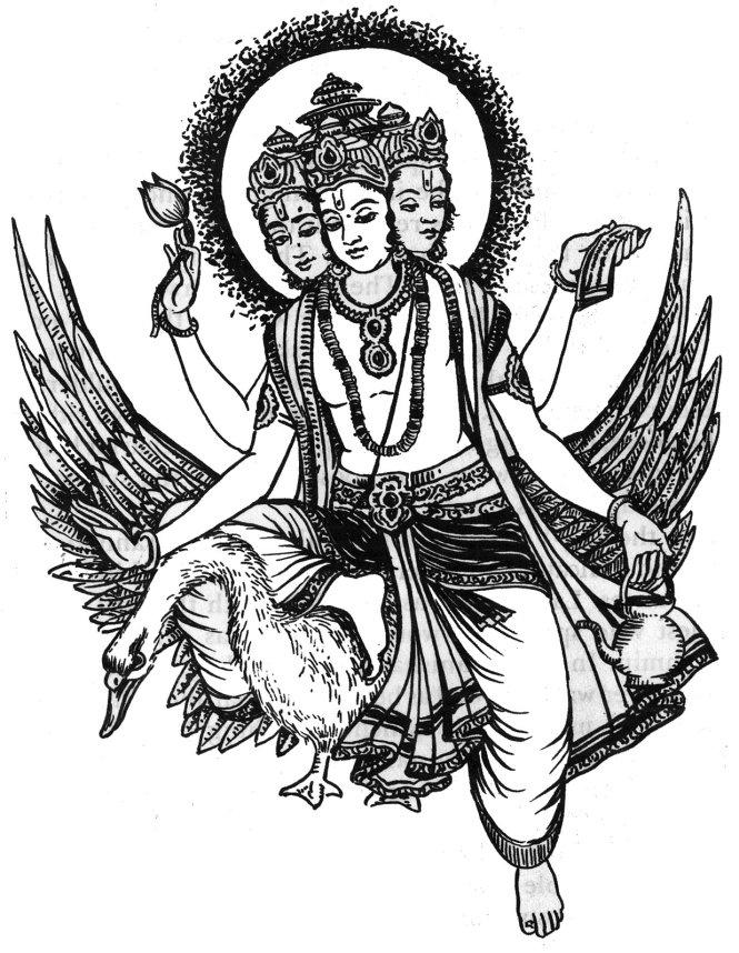 Thần Sáng Tạo Brahma trong motif tranh dân gian Ấn Độ