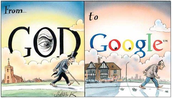 Từ Chúa trời tới Google, biếm họa của The English Blog. Ảnh: The English Blog