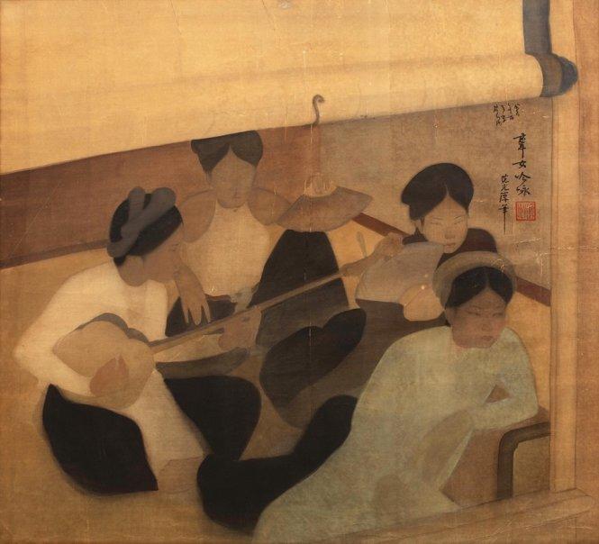Bức tranh lụa Hát ả đào (Femmes musiciennes) của họa sĩ Phạm Hậu
