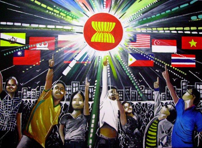 ASEAN cùng hướng tới tương lai, tranh của họa sĩ người Philippines Jessica Lopez.      -Ảnh: wordpress.com