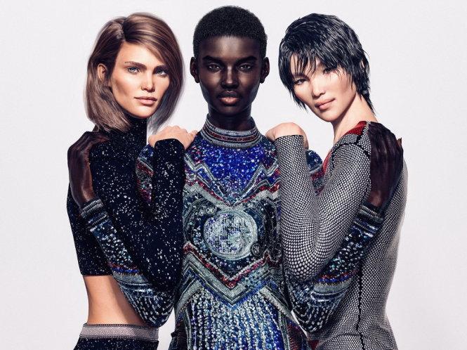 Hãng Balmain thuê nhiếp ảnh gia Cameron-James Wilson sáng tạo ra ba người mẫu kỹ thuật số, từ trái Margot, Shudu và Zhi. Nguồn: Hãng Balmain