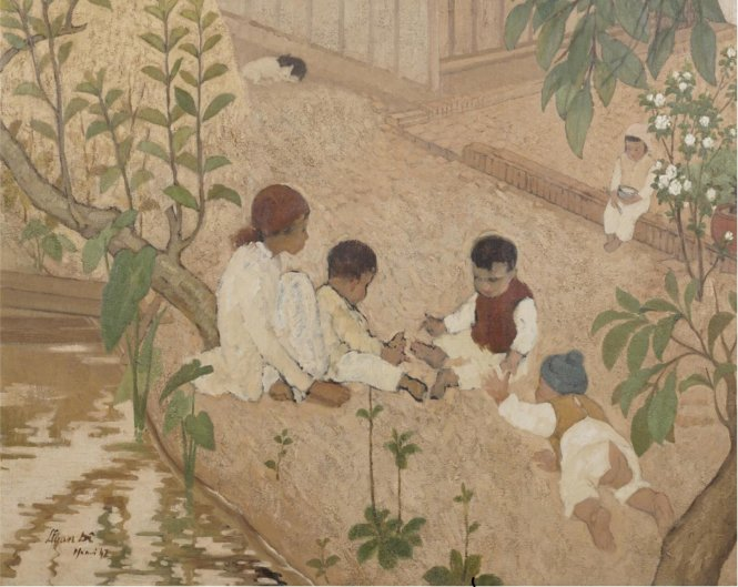 Bức tranh Những đứa trẻ chơi trong vườn (Enfants jouant au jardin) của họa sĩ Lê Văn Đệ