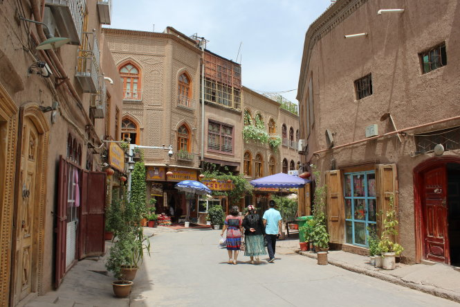 Một góc phố cổ Kashgar được trùng tu dưới thời nhà Thanh.