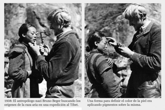 Nhà khảo cổ học Đức Quốc xã Bruno Beger thực hiện trắc đạc nhân thể với một phụ nữ ở Tây Tạng để nghiên cứu