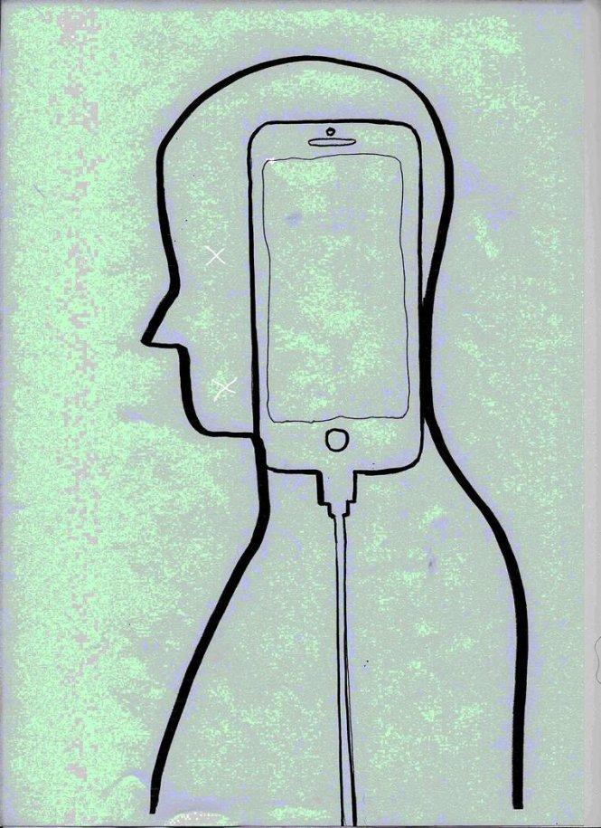 Con người trong thành phố đang gắn chặt với điện thoại di động.