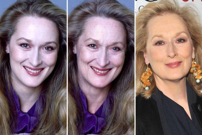 """Từ trái sang: ảnh nữ diễn viên Meryl Streep thời trẻ, ảnh Meryl Streep """"già hóa"""" qua FaceApp, và ảnh Meryl Streep ngoài đời thực hiện nay. Ảnh: The Sun"""
