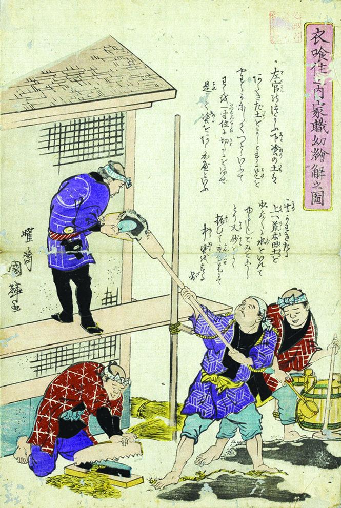 Hai bức trong bộ tranh tường giải những công việc thường ngày của người dân do Utagawa Kuniteru vẽ (1808 - 1876), nằm trong kho dữ liệu tranh về lịch sử thực nghiệp của Nhật Bản.