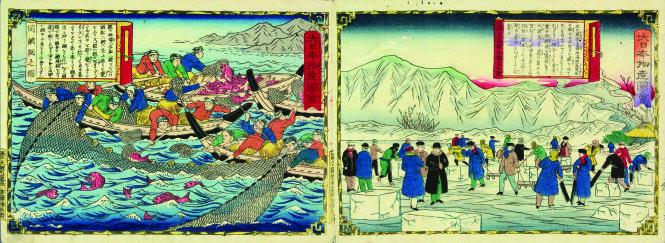 Hai bức tranh trong bộ Đại Nhật Bản sản vật đồ hội của Utagawa Hiroshige. Ảnh tư liệu