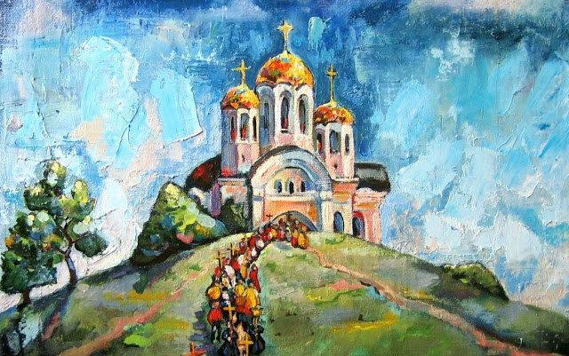 Tranh vẽ Nhà thờ Thánh George tại Samara của Nina Silaeva.