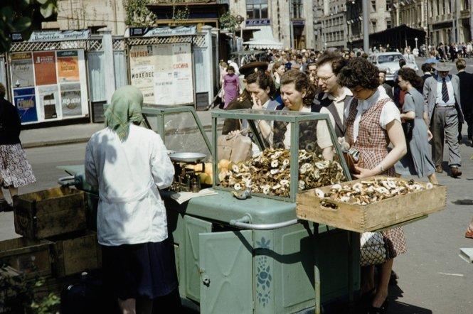 Mua hàng trên đường phố Matxcơva thập niên 1950.